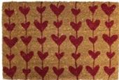red hearts coir mat