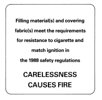 Carelessness causes fire label (cigarette and match ignition)