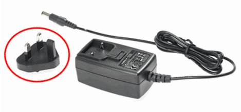 Detachable power plug (circled) and power supply base
