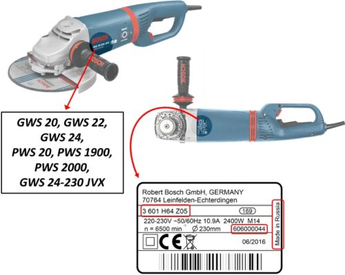 Bosch grinder model and serial number placement